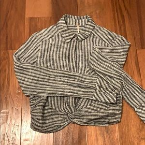 black and white striped blouse, crop style